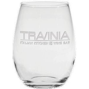 15 Oz. Stemless White Wine Glass - Etched